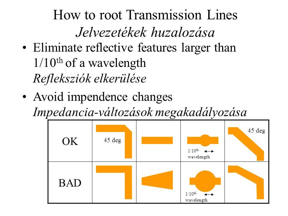 How to root Transmission Lines Jelvezetékek huzalozása Eliminate reflective features larger than 1/10 th of a wavelength Refleksziók elkerülése Avoid