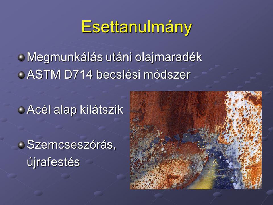Esettanulmány Megmunkálás utáni olajmaradék ASTM D714 becslési módszer Acél alap kilátszik Szemcseszórás,újrafestés
