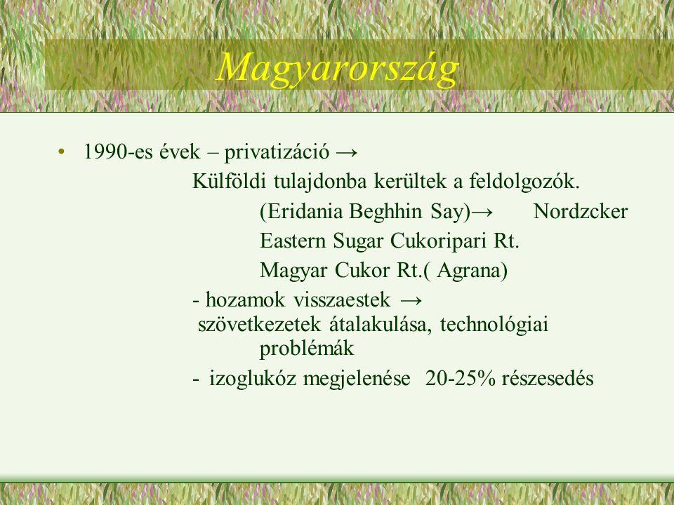 Magyarország 1990-es évek – privatizáció → Külföldi tulajdonba kerültek a feldolgozók. (Eridania Beghhin Say)→ Nordzcker Eastern Sugar Cukoripari Rt.