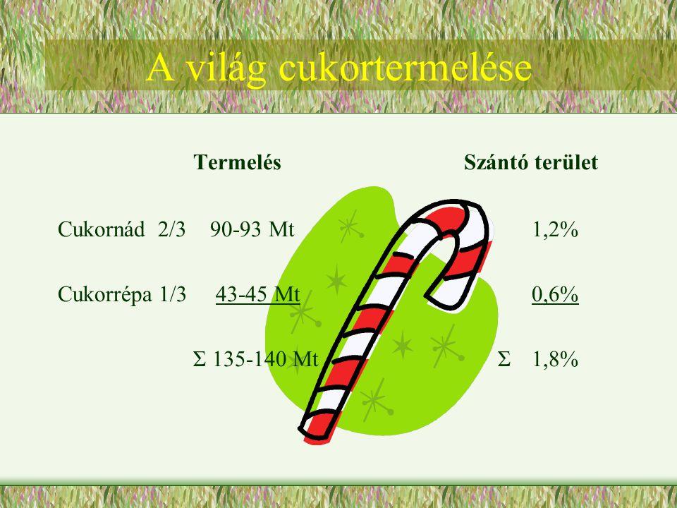 TermelésSzántó terület Cukornád 2/3 90-93 Mt1,2% Cukorrépa 1/3 43-45 Mt0,6% Σ 135-140 Mt Σ1,8%