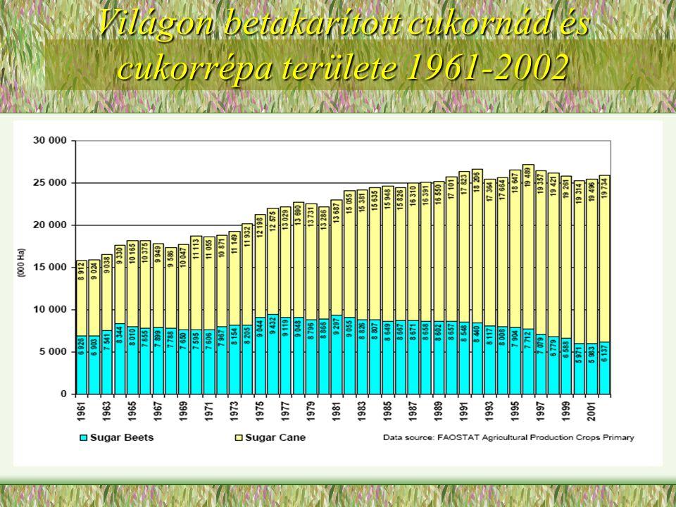 Világon betakarított cukornád és cukorrépa területe 1961-2002