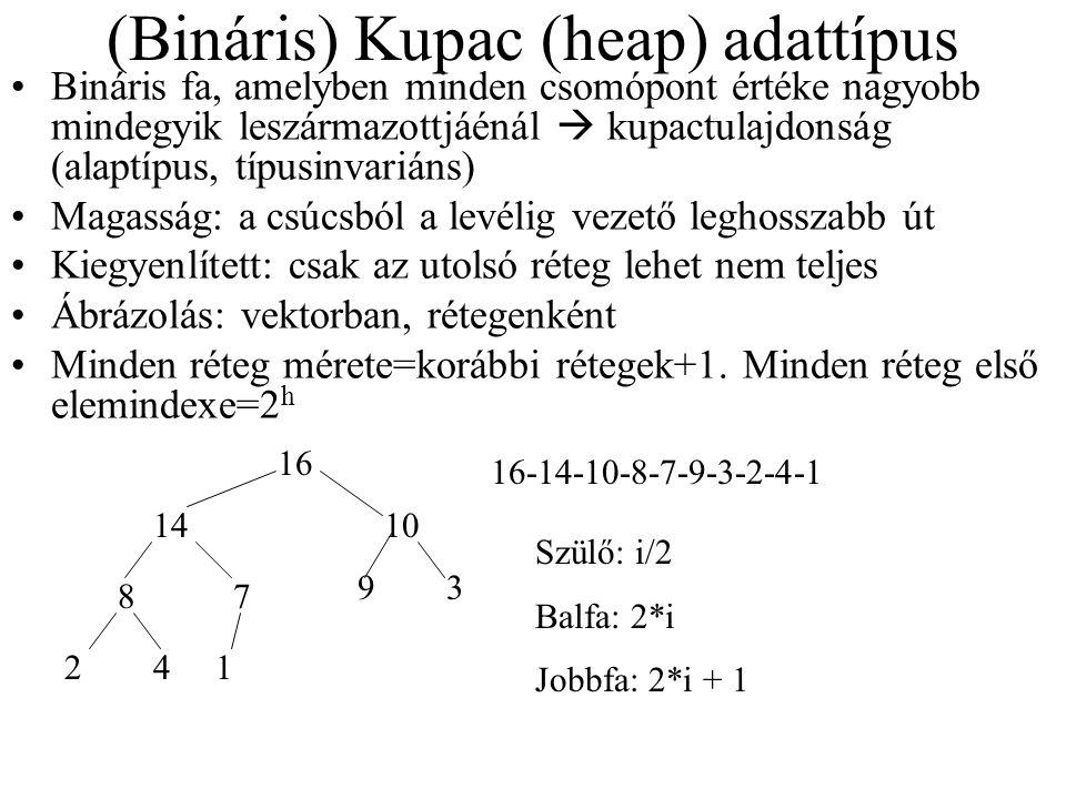 (Bináris) Kupac (heap) adattípus Bináris fa, amelyben minden csomópont értéke nagyobb mindegyik leszármazottjáénál  kupactulajdonság (alaptípus, típusinvariáns) Magasság: a csúcsból a levélig vezető leghosszabb út Kiegyenlített: csak az utolsó réteg lehet nem teljes Ábrázolás: vektorban, rétegenként Minden réteg mérete=korábbi rétegek+1.