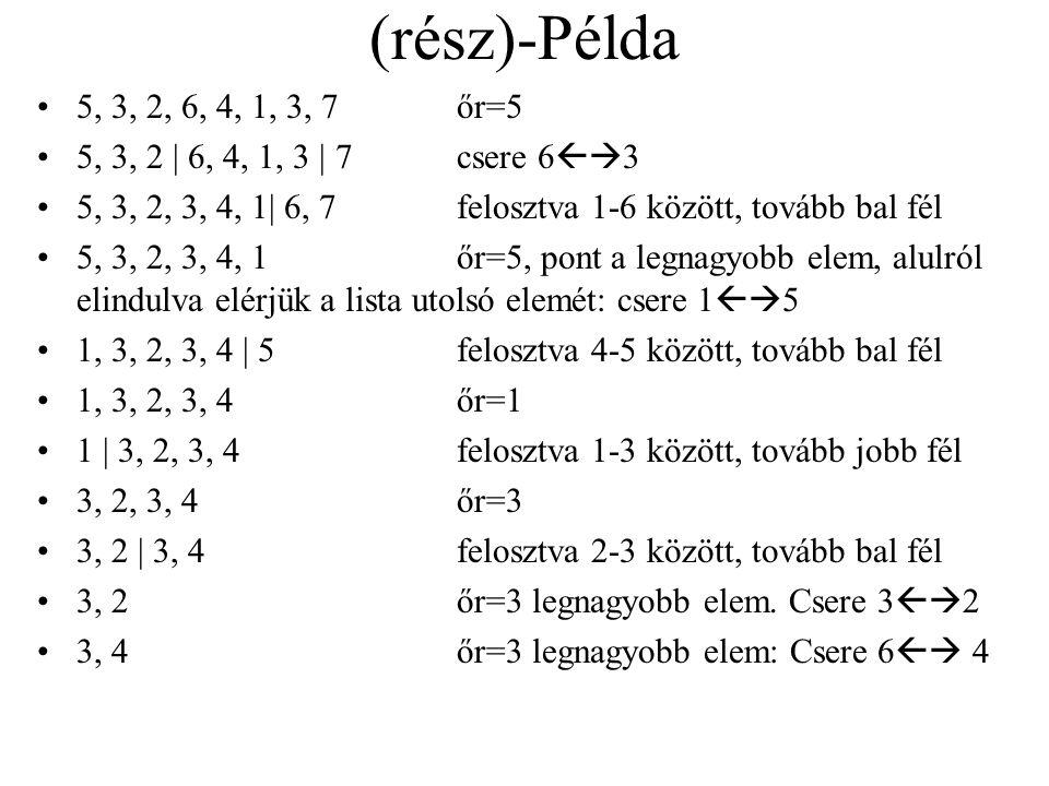 Gyorsrendezés felosztó algoritmusa A tomb(also,felso) résztömböt helycserék útján felosztjuk úgy, hogy tomb(also,kozep)<tomb(kozep+1,felso) A tömb els
