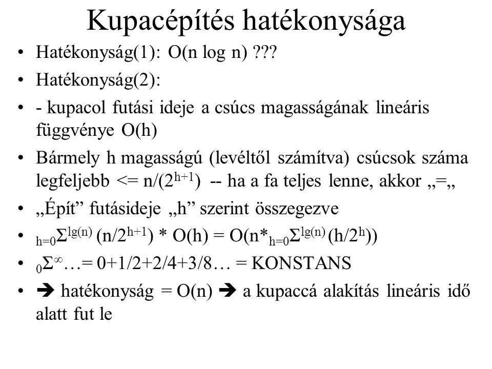 Kupacépítés hatékonysága Hatékonyság(1): O(n log n) ??.