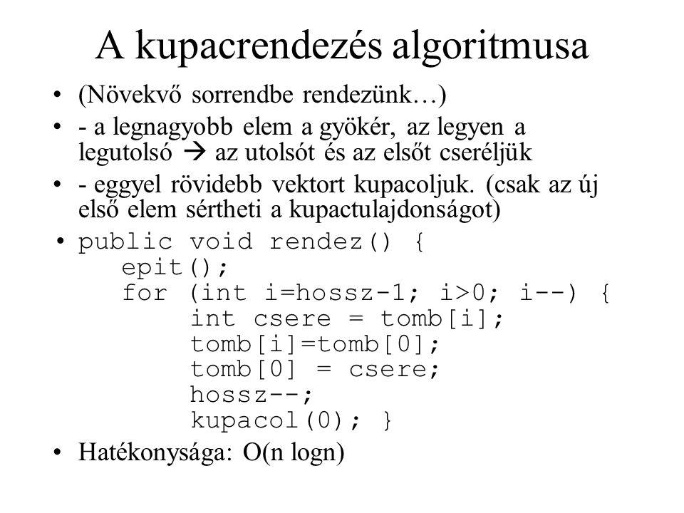 A kupacrendezés algoritmusa (Növekvő sorrendbe rendezünk…) - a legnagyobb elem a gyökér, az legyen a legutolsó  az utolsót és az elsőt cseréljük - eggyel rövidebb vektort kupacoljuk.