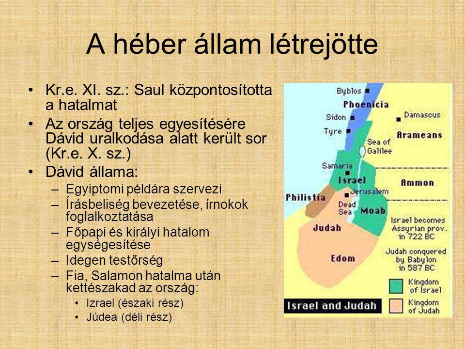A héber állam létrejötte Kr.e. XI. sz.: Saul központosította a hatalmat Az ország teljes egyesítésére Dávid uralkodása alatt került sor (Kr.e. X. sz.)