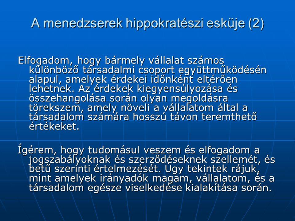 A menedzserek hippokratészi esküje (2) Elfogadom, hogy bármely vállalat számos különböző társadalmi csoport együttműködésén alapul, amelyek érdekei id