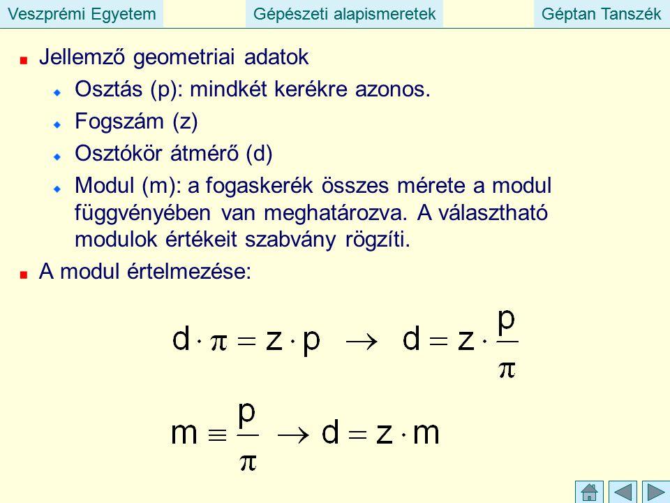 Veszprémi EgyetemGépészeti alapismeretekGéptan TanszékVeszprémi EgyetemGépészeti alapismeretekGéptan Tanszék Jellemző geometriai adatok Osztás (p): mindkét kerékre azonos.
