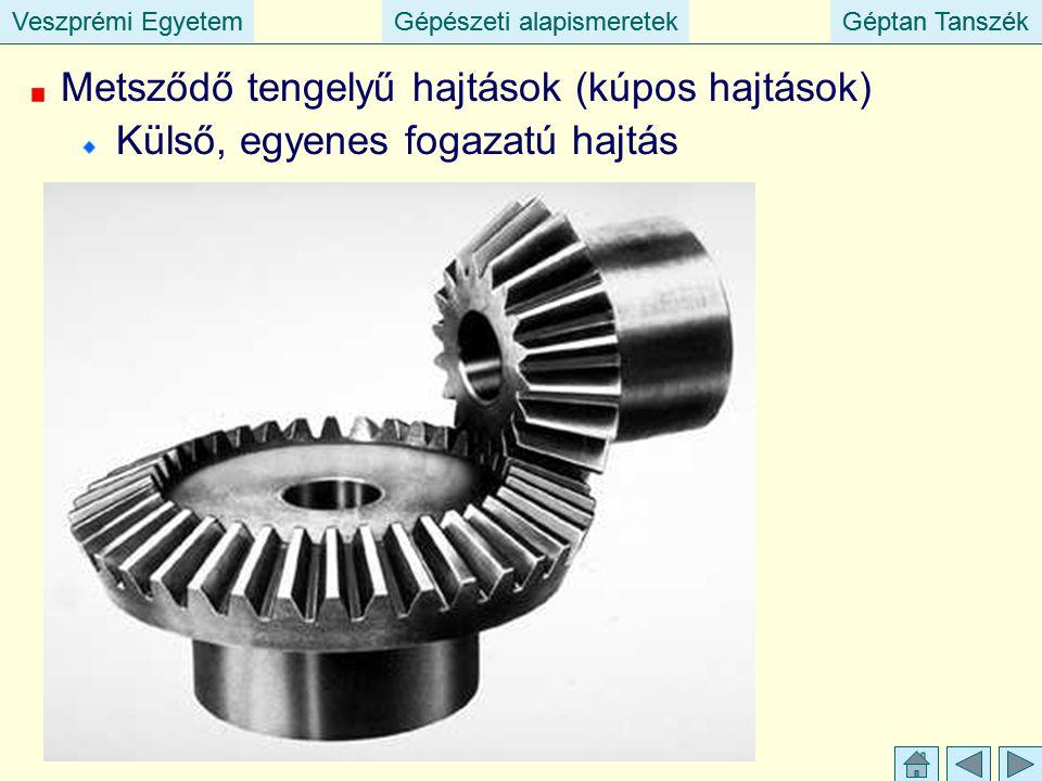 Veszprémi EgyetemGépészeti alapismeretekGéptan TanszékVeszprémi EgyetemGépészeti alapismeretekGéptan Tanszék Metsződő tengelyű hajtások (kúpos hajtások) Külső, egyenes fogazatú hajtás