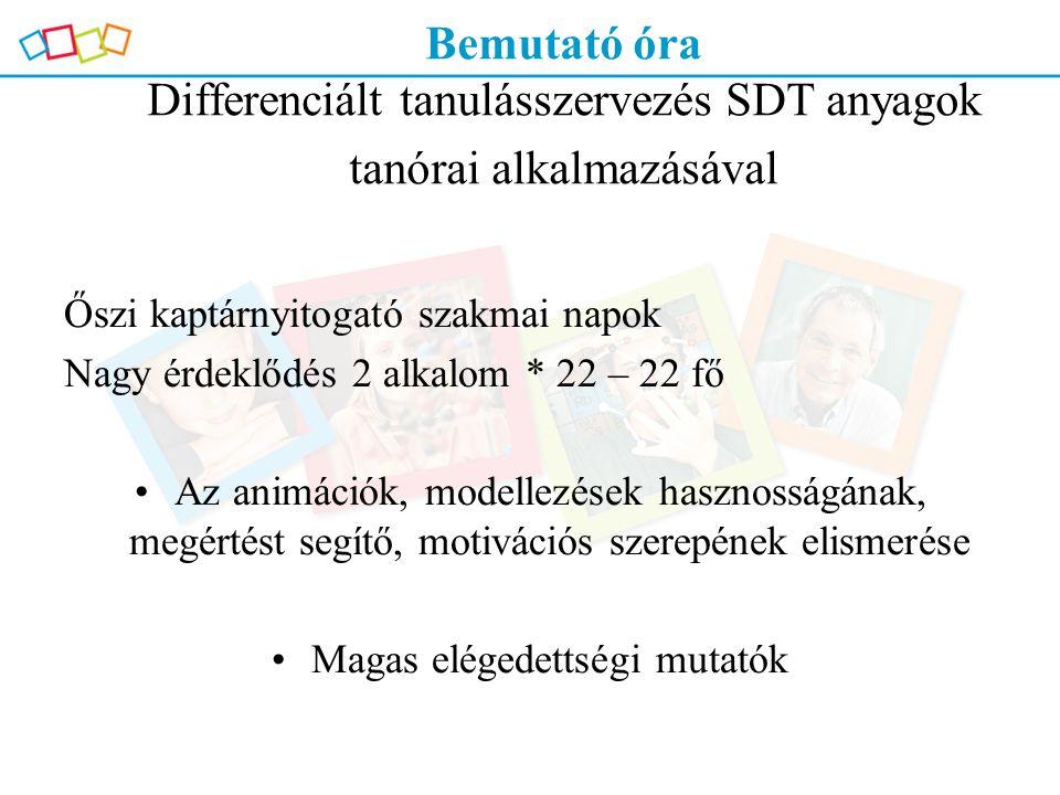 Bemutató óra Differenciált tanulásszervezés SDT anyagok tanórai alkalmazásával Őszi kaptárnyitogató szakmai napok Nagy érdeklődés 2 alkalom * 22 – 22