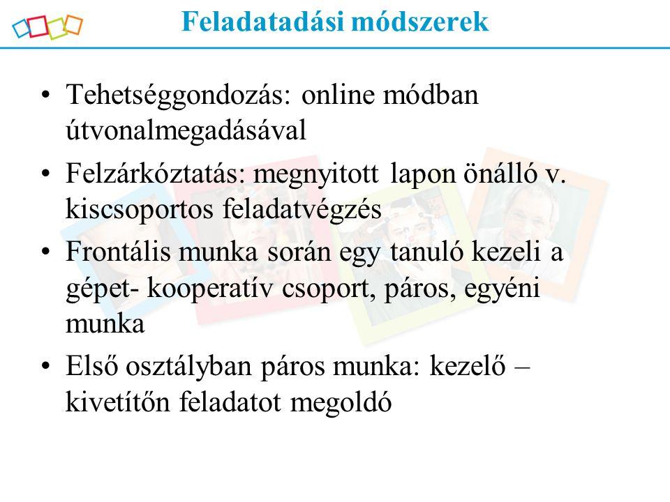 Feladatadási módszerek Tehetséggondozás: online módban útvonalmegadásával Felzárkóztatás: megnyitott lapon önálló v. kiscsoportos feladatvégzés Frontá