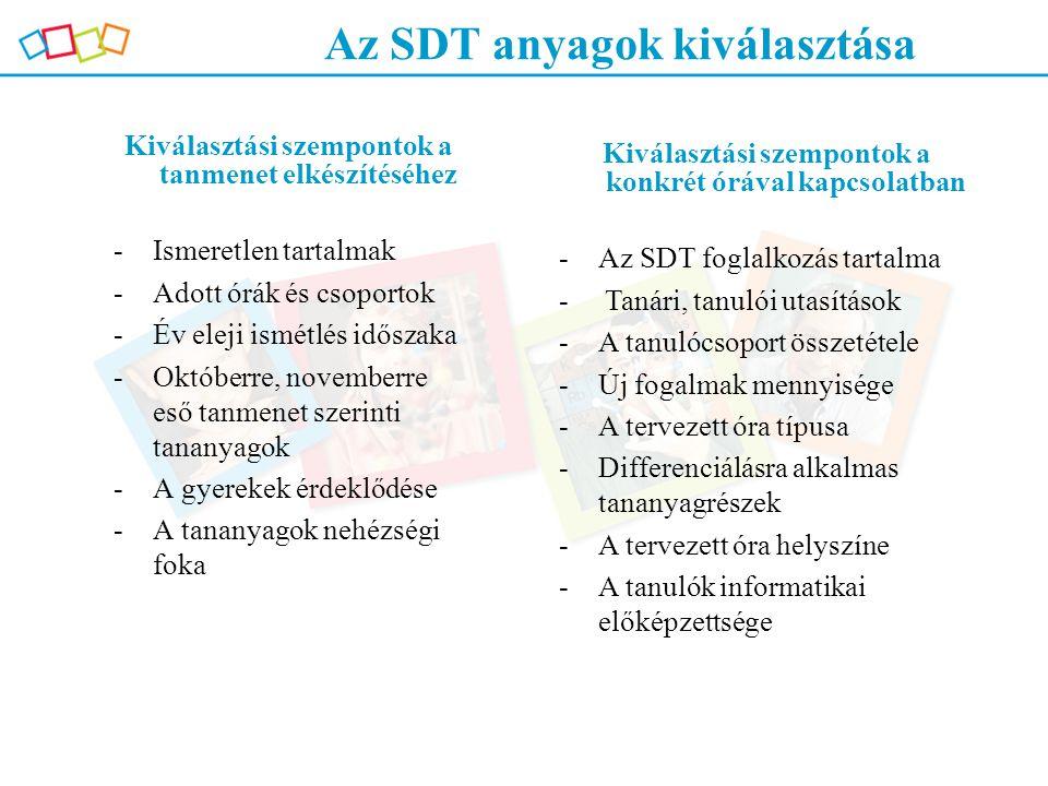Az SDT anyagok kiválasztása Kiválasztási szempontok a tanmenet elkészítéséhez -Ismeretlen tartalmak -Adott órák és csoportok -Év eleji ismétlés idősza