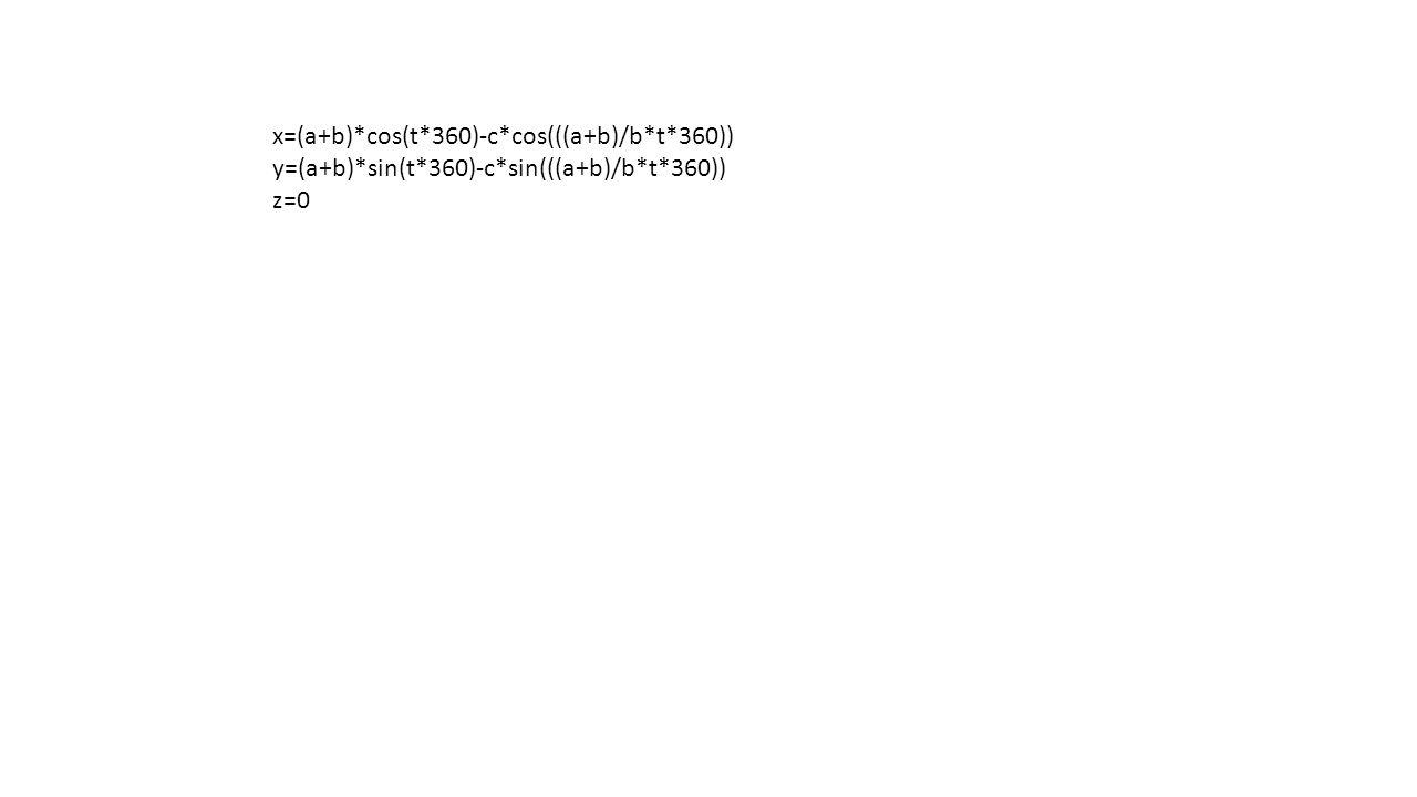 x=(a+b)*cos(t*360)-c*cos(((a+b)/b*t*360)) y=(a+b)*sin(t*360)-c*sin(((a+b)/b*t*360)) z=0