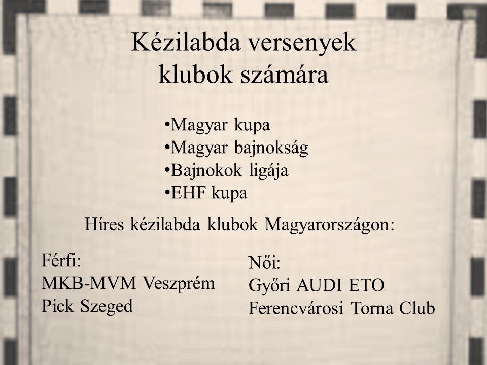 Kézilabda versenyek klubok számára Magyar kupa Magyar bajnokság Bajnokok ligája EHF kupa Híres kézilabda klubok Magyarországon: Férfi: MKB-MVM Veszpré