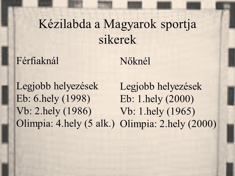 Férfiaknál Legjobb helyezések Eb: 6.hely (1998) Vb: 2.hely (1986) Olimpia: 4.hely (5 alk.) Nőknél Legjobb helyezések Eb: 1.hely (2000) Vb: 1.hely (196