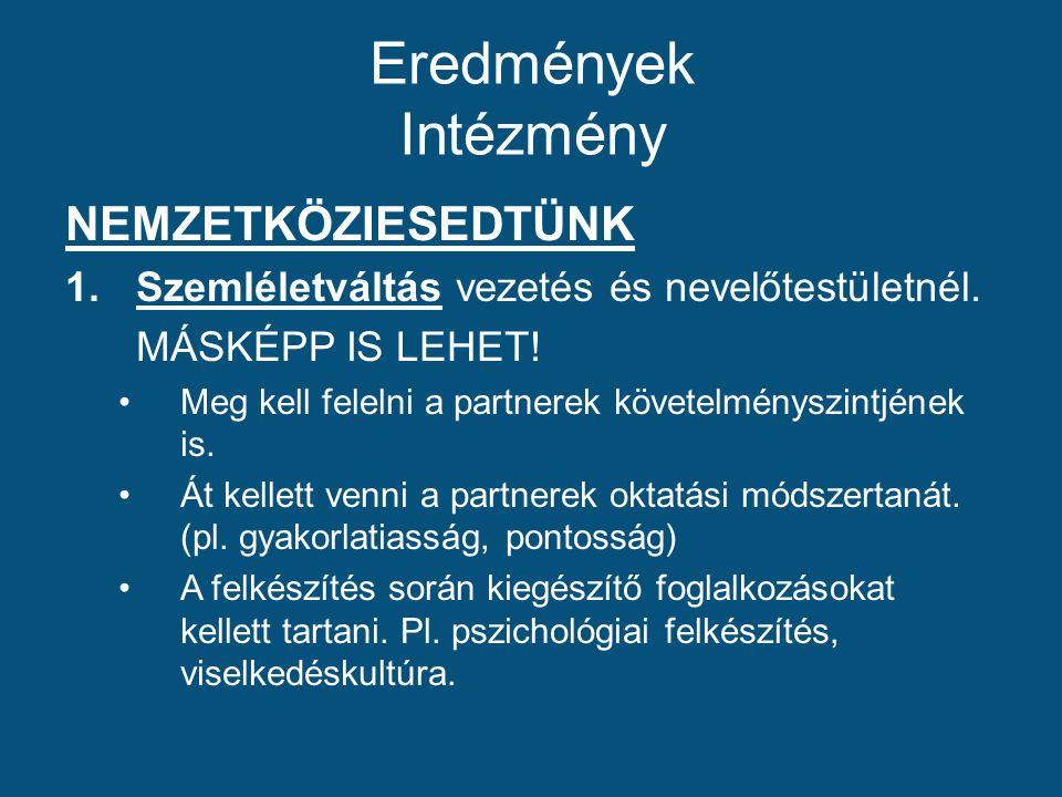 Eredmények Intézmény NEMZETKÖZIESEDTÜNK 1.Szemléletváltás vezetés és nevelőtestületnél.