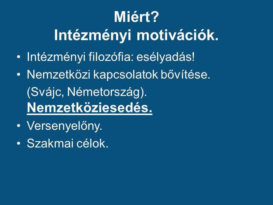 Miért. Intézményi motivációk. Intézményi filozófia: esélyadás.