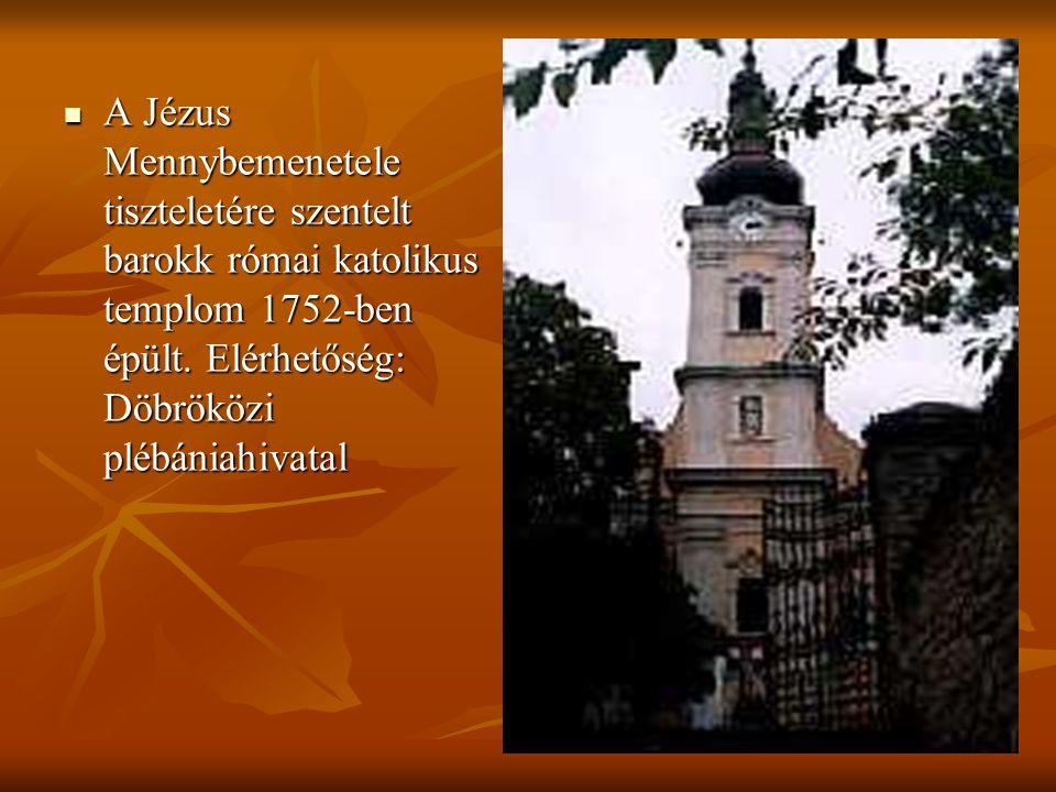 A Jézus Mennybemenetele tiszteletére szentelt barokk római katolikus templom 1752-ben épült.