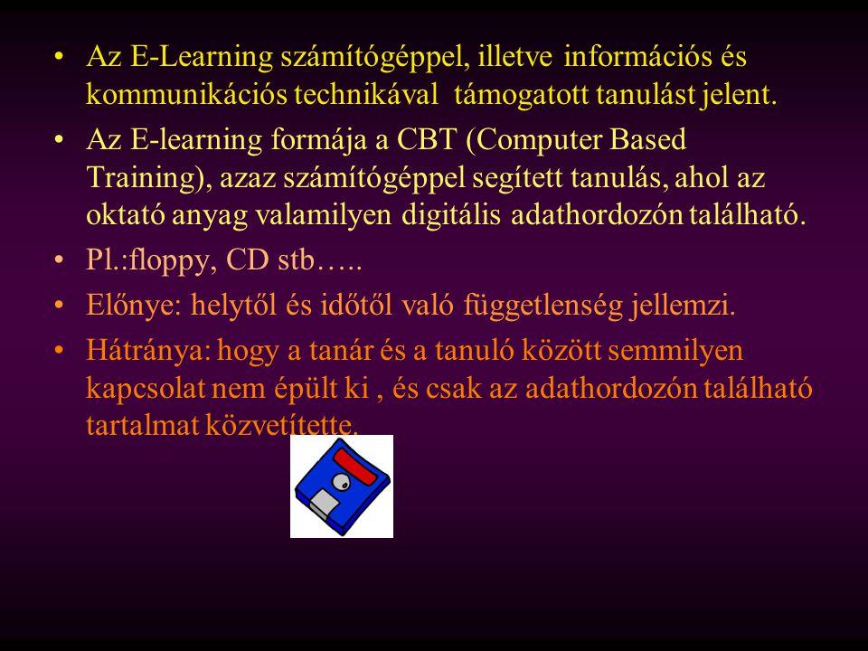 Az E-Learning számítógéppel, illetve információs és kommunikációs technikával támogatott tanulást jelent. Az E-learning formája a CBT (Computer Based