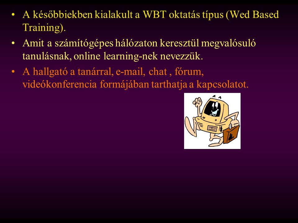 A későbbiekben kialakult a WBT oktatás típus (Wed Based Training). Amit a számítógépes hálózaton keresztül megvalósuló tanulásnak, online learning-nek