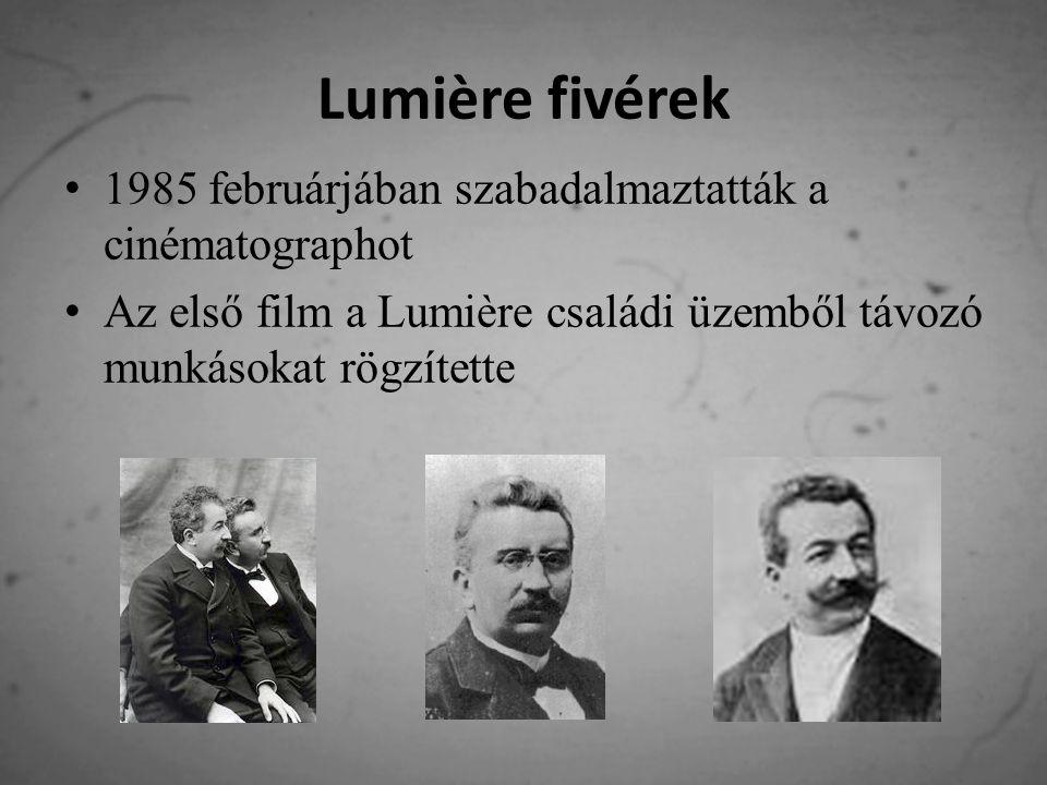 Lumière fivérek Az első trükktechnikát is ők alkották meg, amikor egy fal lebontásáról készített filmet visszafelé játszottak le 1897-ben Párizsban megnyitották az első mozgóképszínházakat