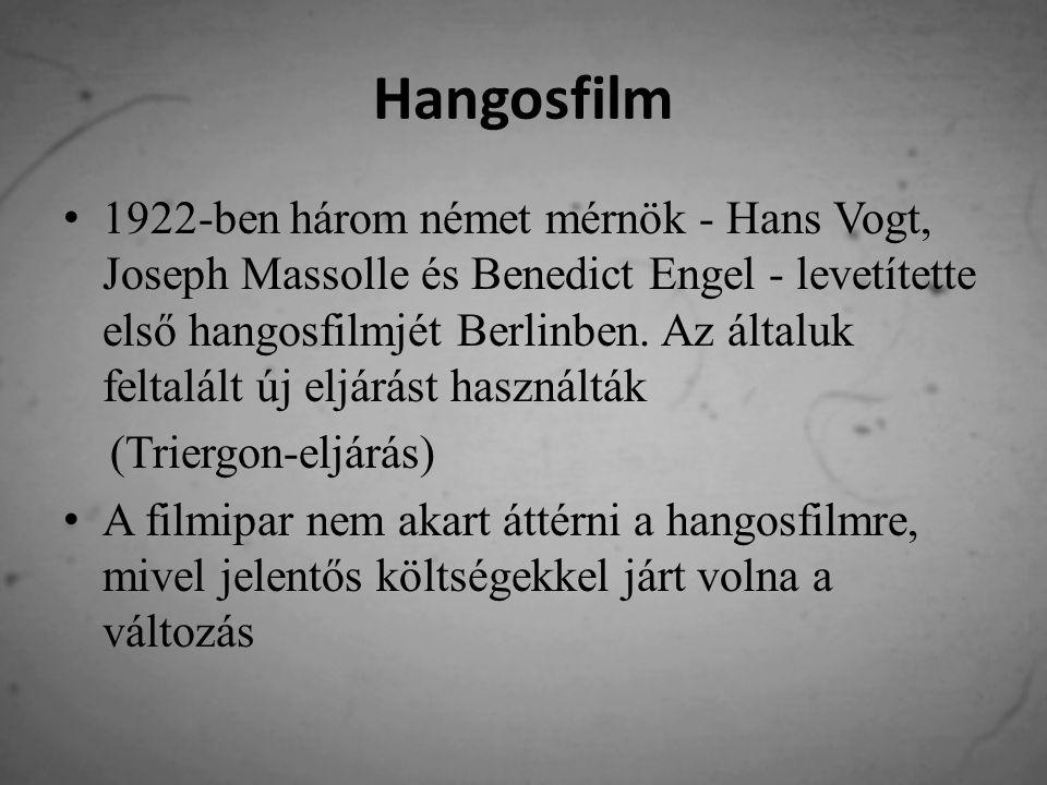 Hangosfilm 1922-ben három német mérnök - Hans Vogt, Joseph Massolle és Benedict Engel - levetítette első hangosfilmjét Berlinben.