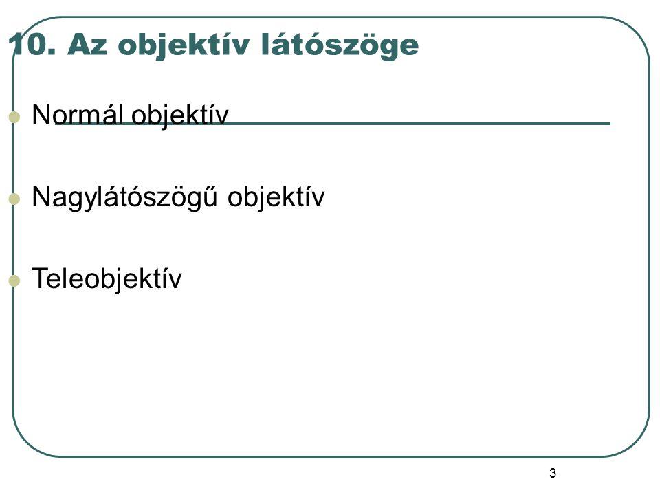 10. Az objektív látószöge Normál objektív Nagylátószögű objektív Teleobjektív 3