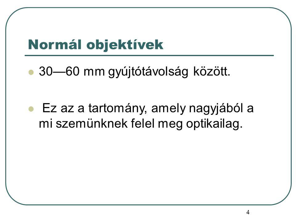 4 Normál objektívek 30—60 mm gyújtótávolság között.