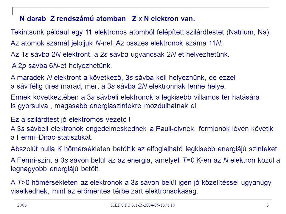 2006 HEFOP 3.3.1-P.-2004-06-18/1.10 3 N darab Z rendszámú atomban Z x N elektron van.