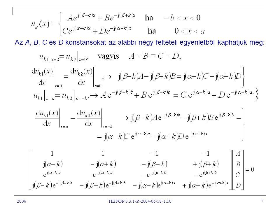 2006 HEFOP 3.3.1-P.-2004-06-18/1.10 7 Az A, B, C és D konstansokat az alábbi négy feltételi egyenletből kaphatjuk meg:
