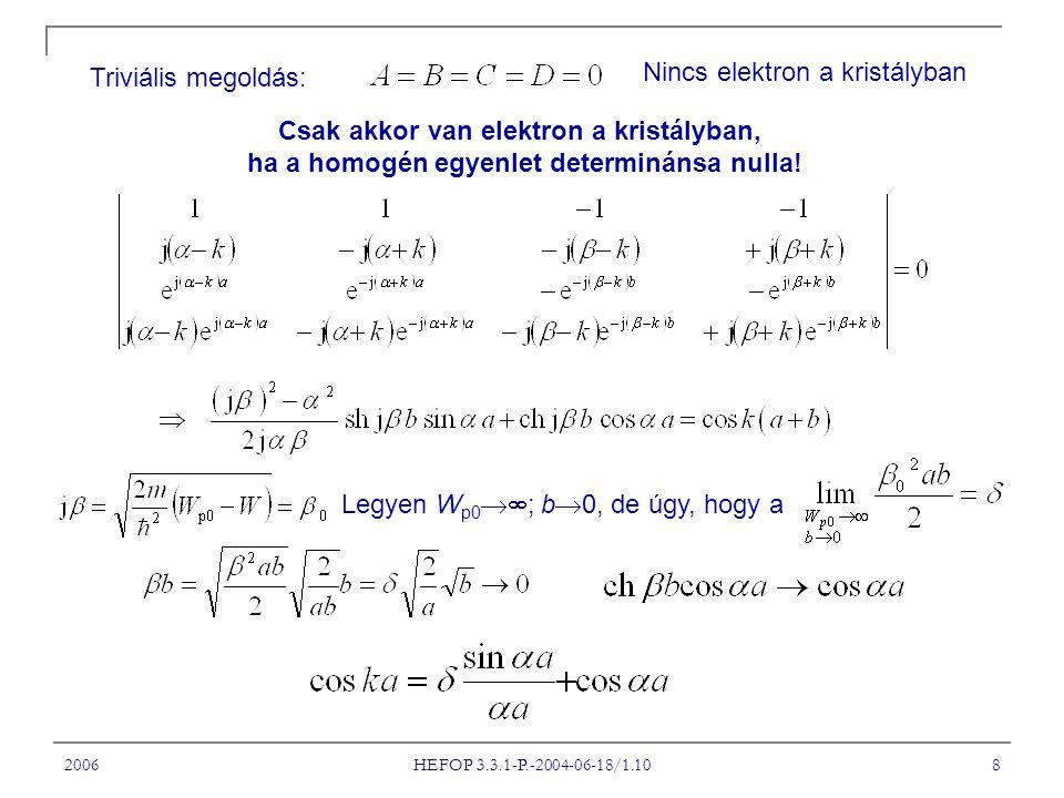 2006 HEFOP 3.3.1-P.-2004-06-18/1.10 8 Triviális megoldás: Nincs elektron a kristályban Csak akkor van elektron a kristályban, ha a homogén egyenlet determinánsa nulla.