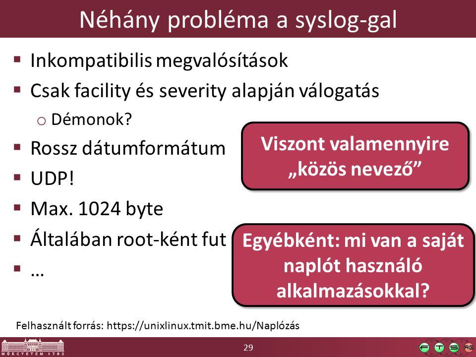 29 Néhány probléma a syslog-gal  Inkompatibilis megvalósítások  Csak facility és severity alapján válogatás o Démonok.