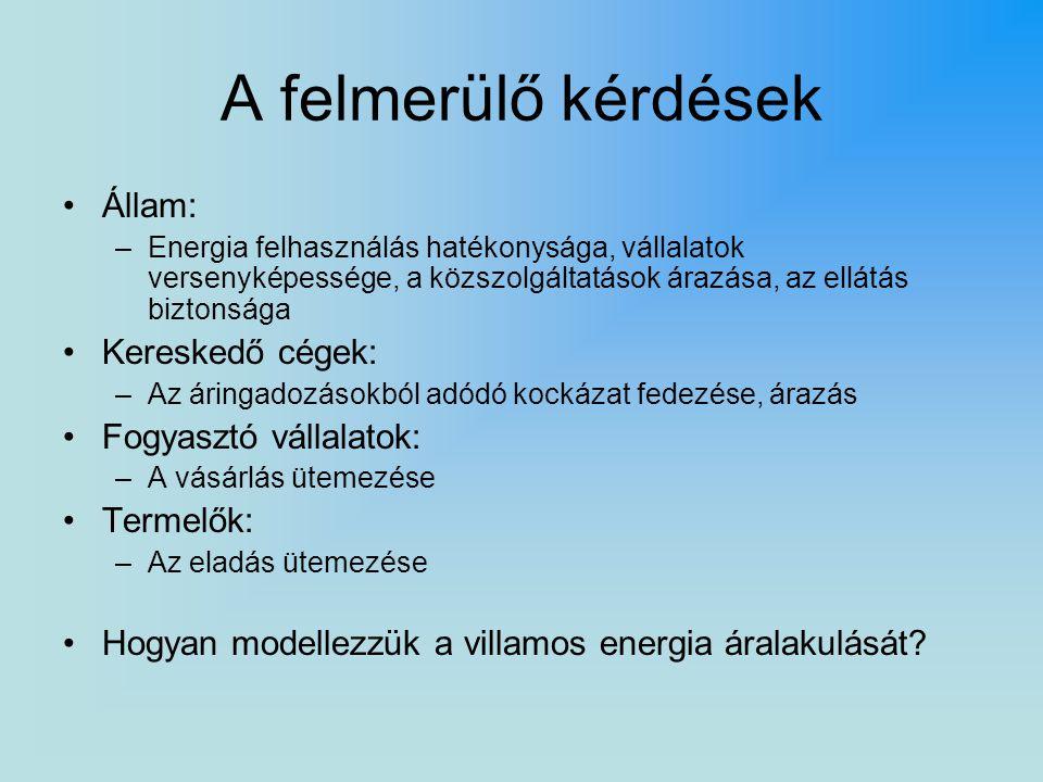A felmerülő kérdések Állam: –Energia felhasználás hatékonysága, vállalatok versenyképessége, a közszolgáltatások árazása, az ellátás biztonsága Kereskedő cégek: –Az áringadozásokból adódó kockázat fedezése, árazás Fogyasztó vállalatok: –A vásárlás ütemezése Termelők: –Az eladás ütemezése Hogyan modellezzük a villamos energia áralakulását?