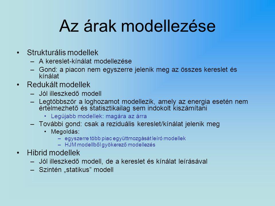 """Az árak modellezése Strukturális modellek –A kereslet-kínálat modellezése –Gond: a piacon nem egyszerre jelenik meg az összes kereslet és kínálat Redukált modellek –Jól illeszkedő modell –Legtöbbször a loghozamot modellezik, amely az energia esetén nem értelmezhető és statisztikailag sem indokolt kiszámítani Legújabb modellek: magára az árra –További gond: csak a reziduális kereslet/kínálat jelenik meg Megoldás: –egyszerre több piac együttmozgását leíró modellek –HJM modellből gyökerező modellezés Hibrid modellek –Jól illeszkedő modell, de a kereslet és kínálat leírásával –Szintén """"statikus modell"""