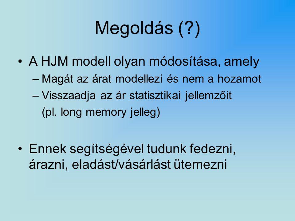 Megoldás (?) A HJM modell olyan módosítása, amely –Magát az árat modellezi és nem a hozamot –Visszaadja az ár statisztikai jellemzőit (pl. long memory