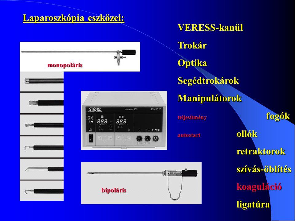 VERESS-kanülTrokárOptikaSegédtrokárokManipulátorok teljesítmény fogók autostart ollók retraktorokszívás-öblítéskoagulációligatúra monopoláris bipolári