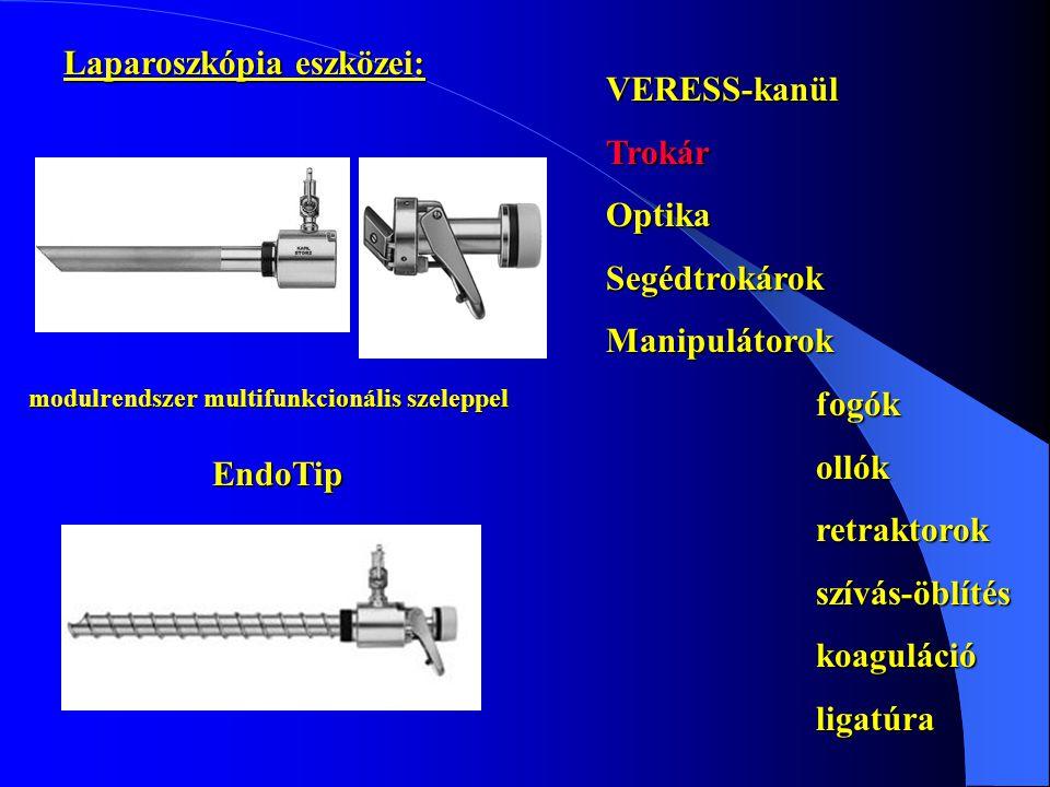 VERESS-kanülTrokárOptikaSegédtrokárokManipulátorokfogókollókretraktorokszívás-öblítéskoagulációligatúra modulrendszer multifunkcionális szeleppel Endo