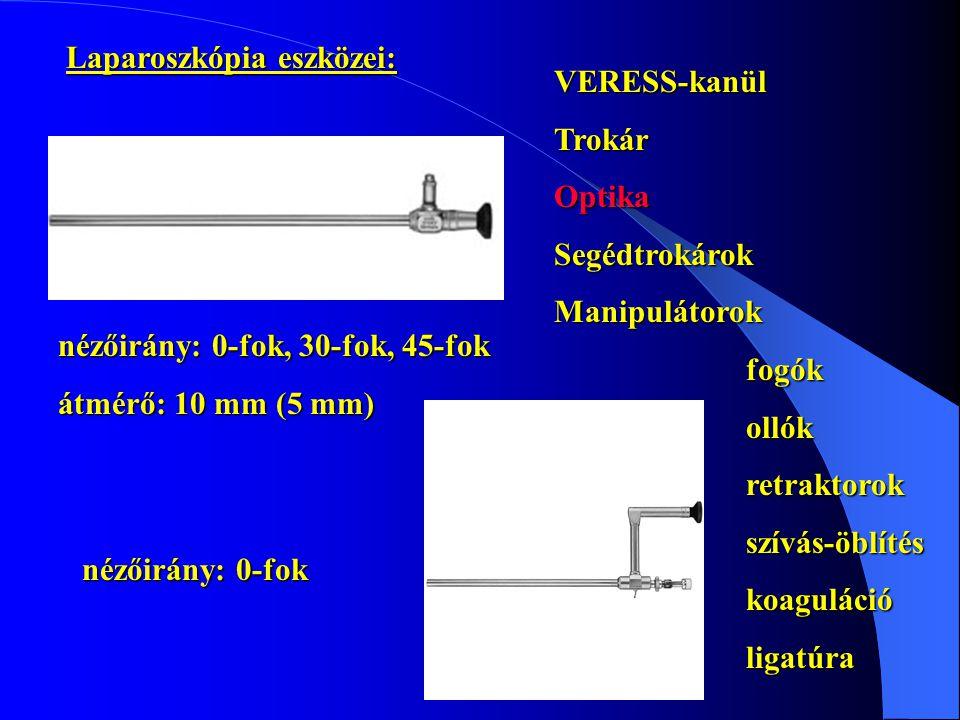 Laparoszkópia eszközei: VERESS-kanülTrokárOptikaSegédtrokárokManipulátorokfogókollókretraktorokszívás-öblítéskoagulációligatúra nézőirány: 0-fok, 30-fok, 45-fok átmérő: 10 mm (5 mm)