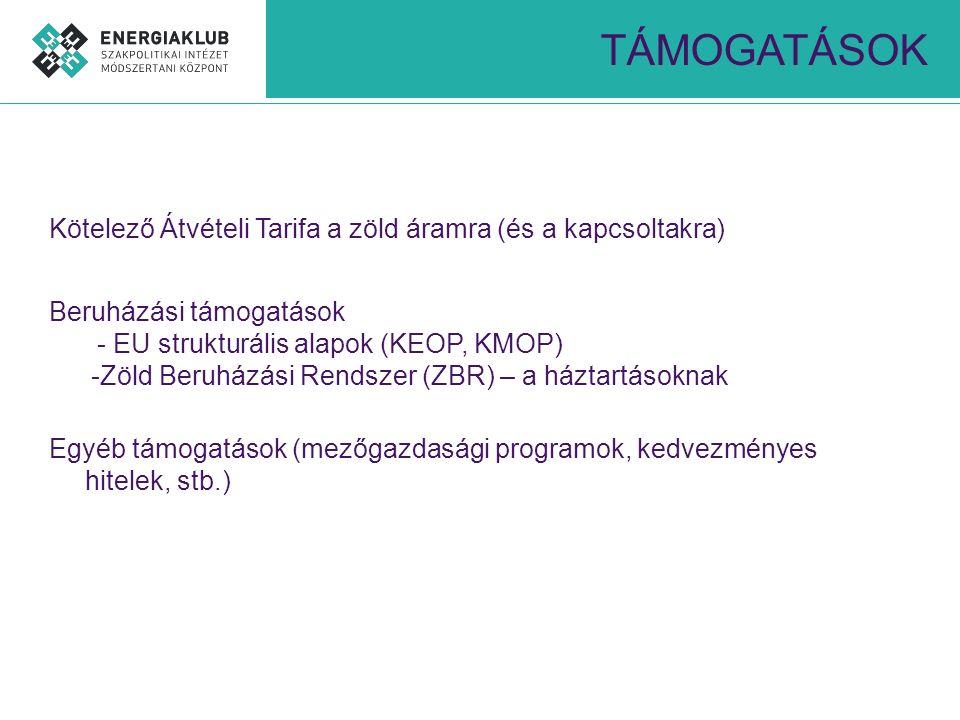 TÁMOGATÁSOK Kötelező Átvételi Tarifa a zöld áramra (és a kapcsoltakra) Beruházási támogatások - EU strukturális alapok (KEOP, KMOP) -Zöld Beruházási R