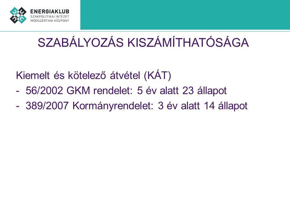 SZABÁLYOZÁS KISZÁMÍTHATÓSÁGA Kiemelt és kötelező átvétel (KÁT) -56/2002 GKM rendelet: 5 év alatt 23 állapot -389/2007 Kormányrendelet: 3 év alatt 14 á