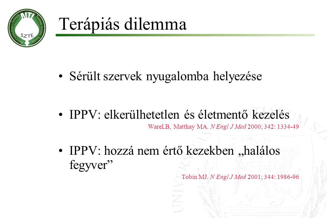 Sérült szervek nyugalomba helyezése IPPV: elkerülhetetlen és életmentő kezelés WareLB, Matthay MA. N Engl J Med 2000; 342: 1334-49 IPPV: hozzá nem ért