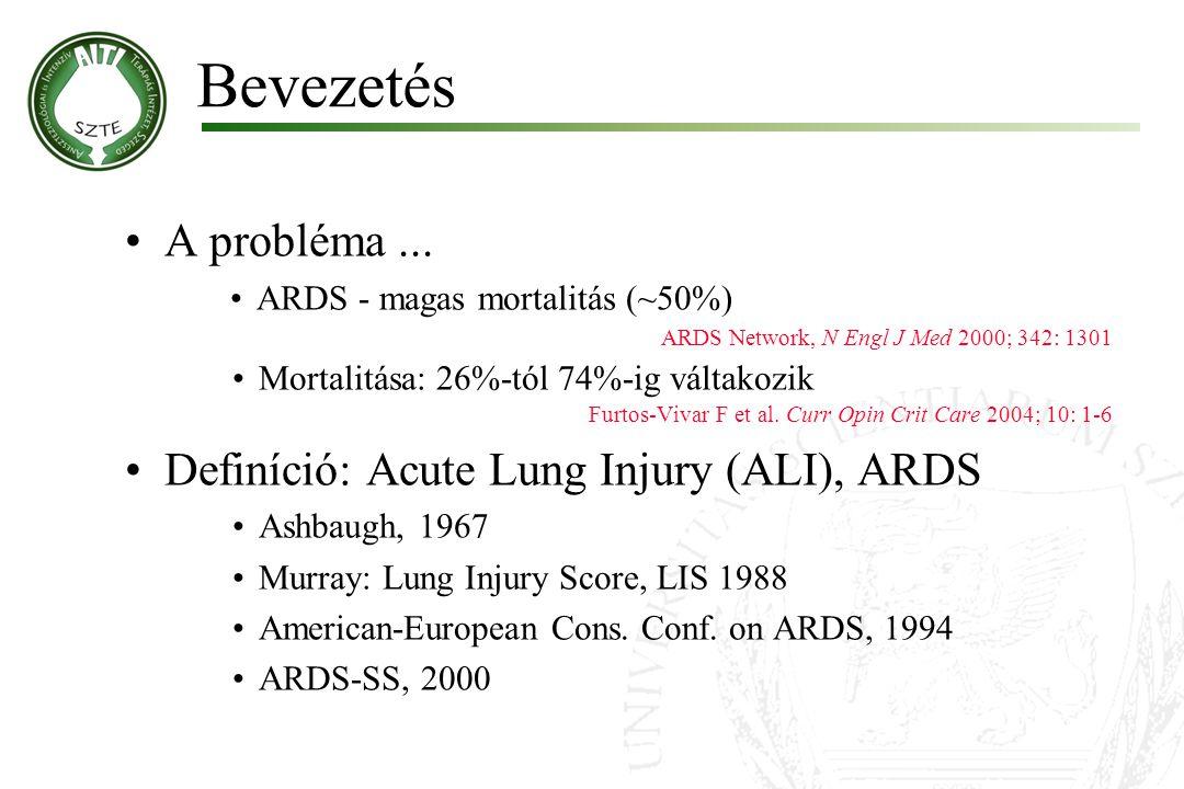 A probléma... ARDS - magas mortalitás (~50%) ARDS Network, N Engl J Med 2000; 342: 1301 Mortalitása: 26%-tól 74%-ig váltakozik Furtos-Vivar F et al. C