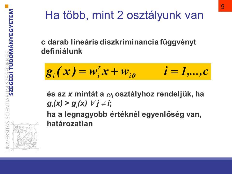 9 c darab lineáris diszkriminancia függvényt definiálunk és az x mintát a  i osztályhoz rendeljük, ha g i (x) > g j (x)  j  i; ha a legnagyobb érté