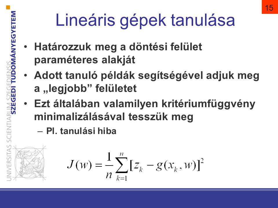 """15 Lineáris gépek tanulása Határozzuk meg a döntési felület paraméteres alakját Adott tanuló példák segítségével adjuk meg a """"legjobb"""" felületet Ezt á"""
