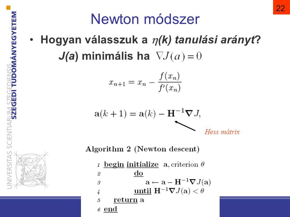 22 Newton módszer Hogyan válasszuk a  (k) tanulási arányt? J(a) minimális ha Hess mátrix