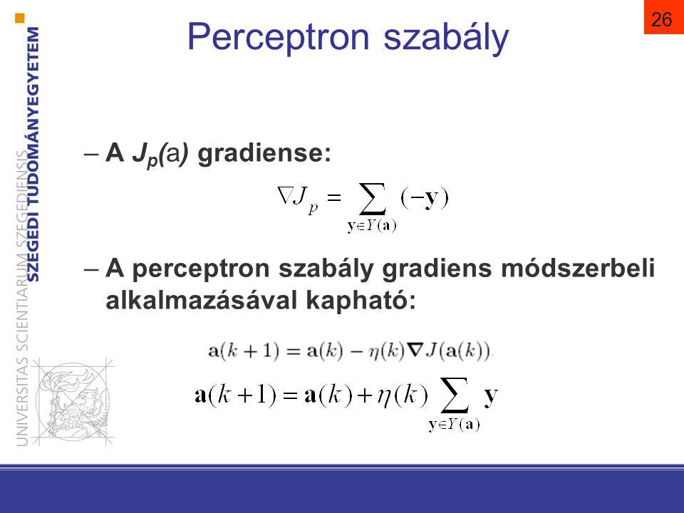 26 Perceptron szabály –A J p (a) gradiense: –A perceptron szabály gradiens módszerbeli alkalmazásával kapható: