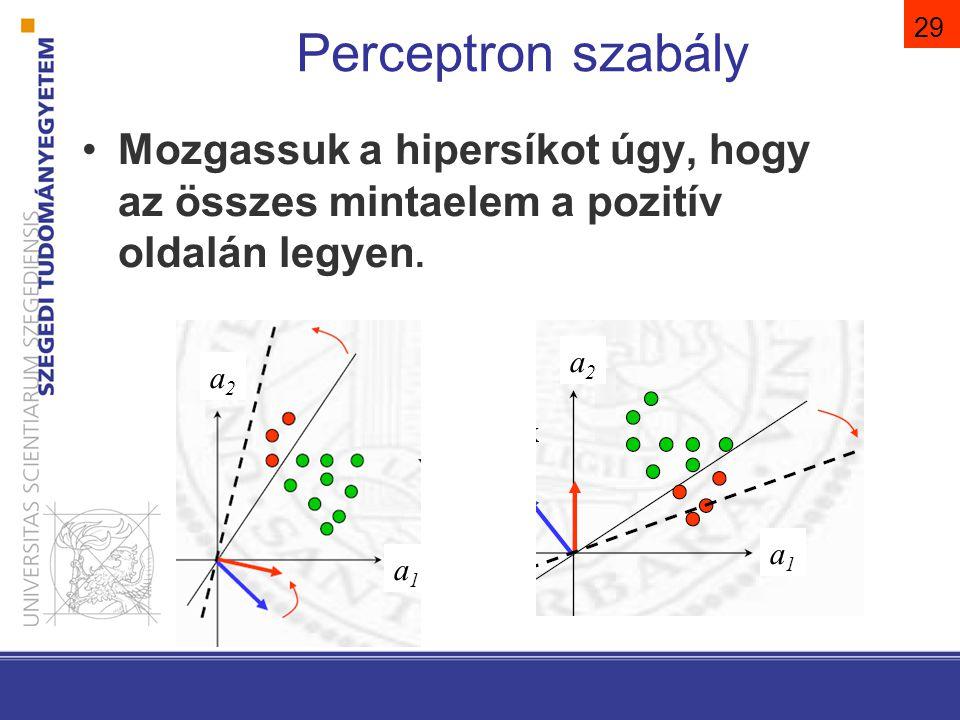 29 Perceptron szabály Mozgassuk a hipersíkot úgy, hogy az összes mintaelem a pozitív oldalán legyen. a2a2a2a2 a2a2a2a2 a1a1a1a1 a1a1a1a1
