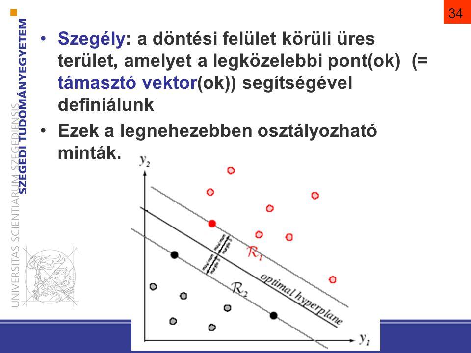 34 Szegély: a döntési felület körüli üres terület, amelyet a legközelebbi pont(ok) (= támasztó vektor(ok)) segítségével definiálunk Ezek a legnehezebb