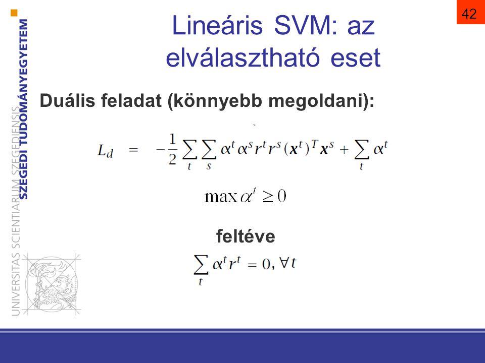 42 Lineáris SVM: az elválasztható eset Duális feladat (könnyebb megoldani): feltéve