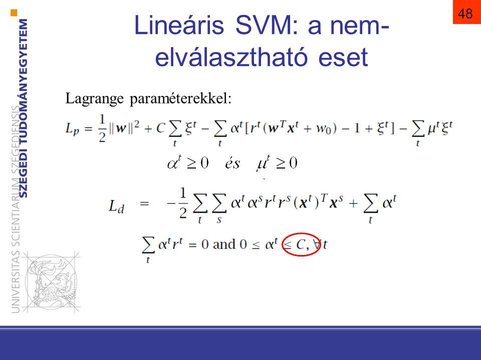 48 Lineáris SVM: a nem- elválasztható eset Lagrange paraméterekkel: